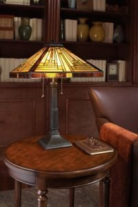 Tiffany style lamp on study table