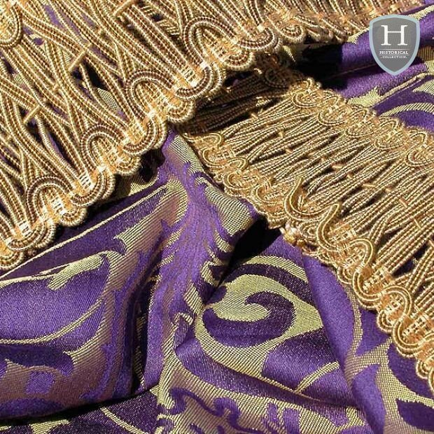 Fairford Brocade fabric - purple and gold