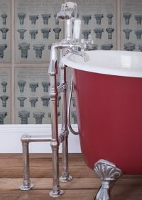 Chrome standing taps over one of our victorian baths