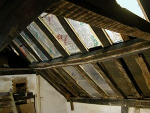 Tudor house roof beam in period home extensions