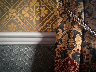 Victorian wallpaper gold and grey