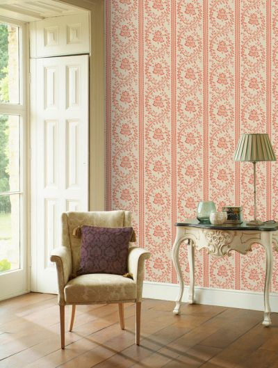 Victorian style wallpaper pink cream