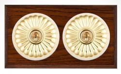 Period Light Switches: Fluted dolly switch with dark wood and antiqued brass,Lighting