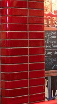 Red glazed brick pillar