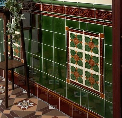 Victorian style wall tiles in porch