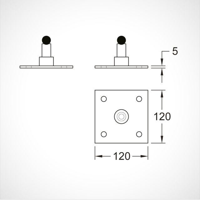Gate pivot - 4 bolt