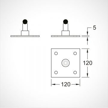 Gate pivot - 4 bolt