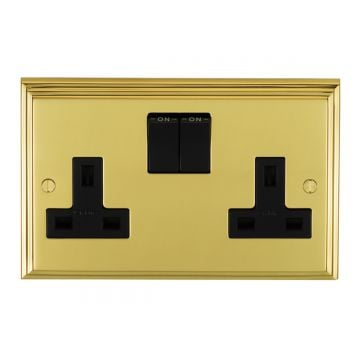 Stepped 2 Gang 13amp DP Switched Socket - brass, chrome or satin chrome