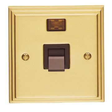 Stepped 1 Gang 45amp DP Cooker Switch & Neon - brass, chrome or satin chrome