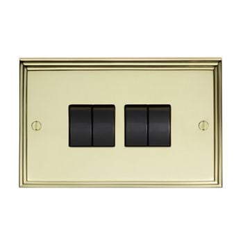 Stepped 4 Gang 10amp 2way Switch - brass, chrome or satin chrome