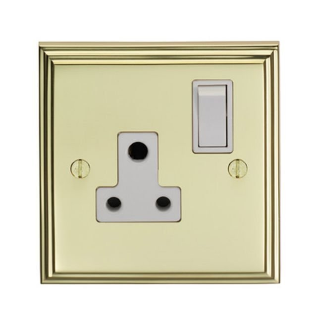 Stepped 1 Gang 5amp Switched Socket - brass, chrome or satin chrome