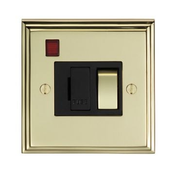 Stepped 13amp Switched Fuse Spur & Neon - brass, chrome or satin chrome