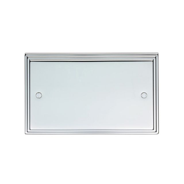 Stepped 2 Gang Blank Plate - brass, chrome or satin chrome