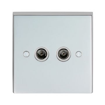 2 Gang TV Outlet in brass, chrome or satin chrome