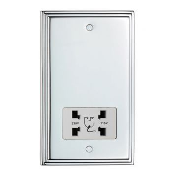 Stepped 2 Gang Dual Voltage Shaver Socket