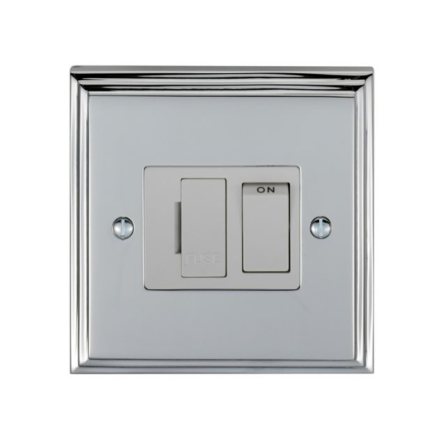 Stepped 13amp Switched Fuse Spur - brass, chrome or satin chrome finishes