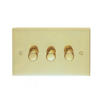 3 Gang 250w Dimmer Switch in brass, chrome or satin chrome