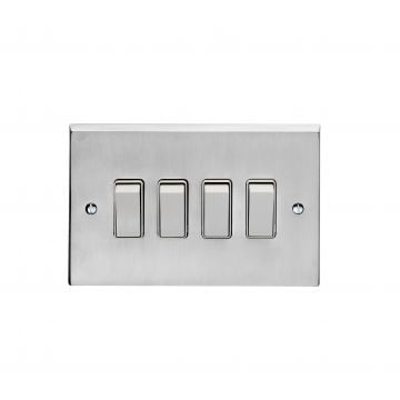 4 gang switch in grid form in brass, chrome or satin chrome