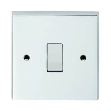 1 gang switch in grid form in brass, chrome or satin chrome