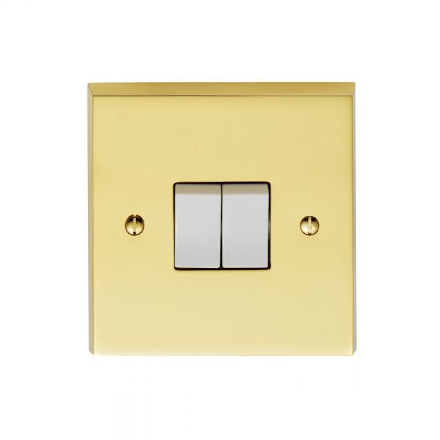 2 Gang 10Amp 2Way Switch - brass, chrome or satin-chrome