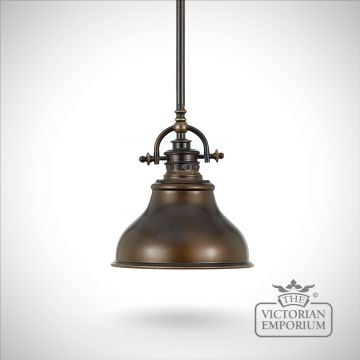 East Vale single ceiling pendant light in Palladin bronze - choice of small or medium size