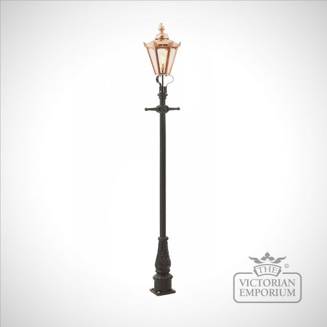 Lamp post 2310mm high and copper hexagonal lantern