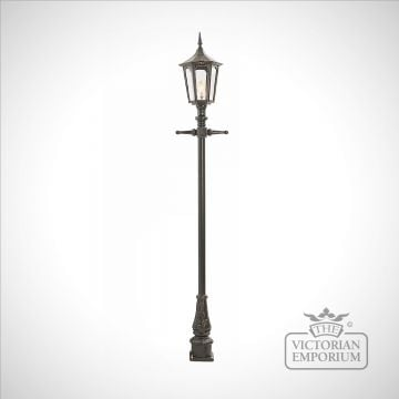 Lamp post 2640mm high and medium hexagonal cast alloy lantern