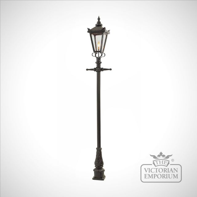 Lamp post 2720mm high and medium square cast alloy lantern