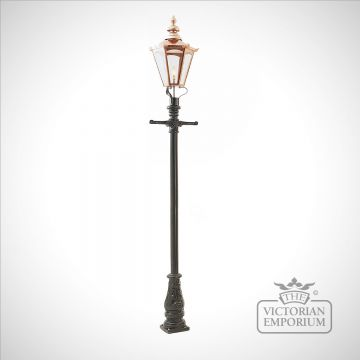 Lamp post 3100mm high and large copper hexagonal lantern