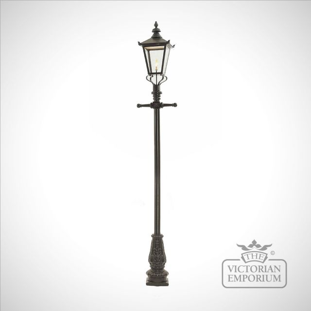 Lamp post 3300mm high and large square steel lantern