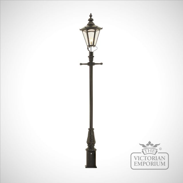 Lamp post 3350mm high and large hexagonal steel lantern - 3350mm high