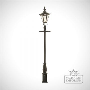 Lamp post 3350mm high and large hexagonal steel lantern - 3350mm high