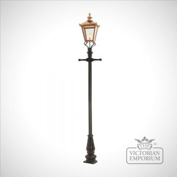 Lamp post 3300mm high and large copper square lantern
