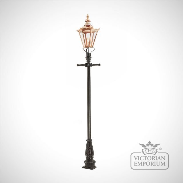 Lamp post 3350mm high and large copper hexagonal lantern