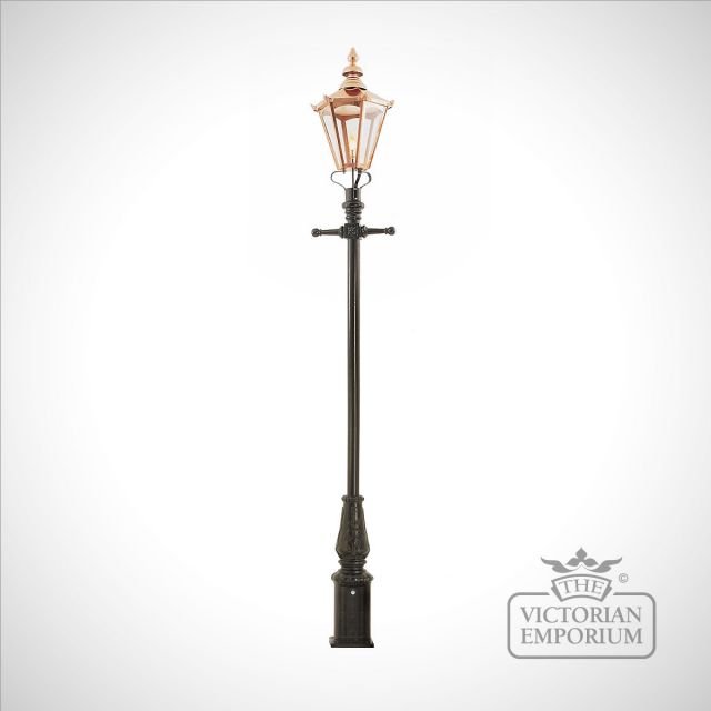 Lamp post 3555mm high and large copper hexagonal lantern