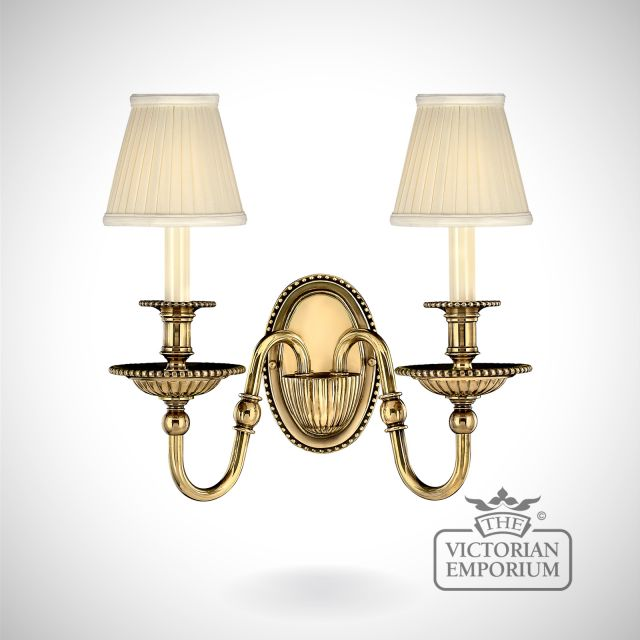 Cambridge double brass wall sconce