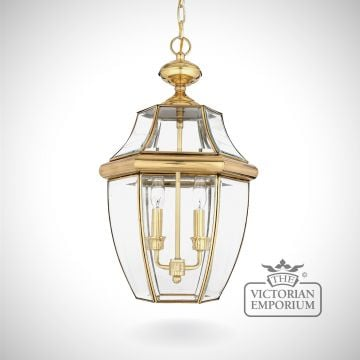 Newbury Large Chain Lantern in Polished Brass
