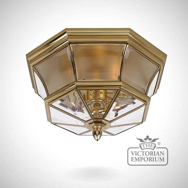 Newbury Flush Mount Light in Polished Brass