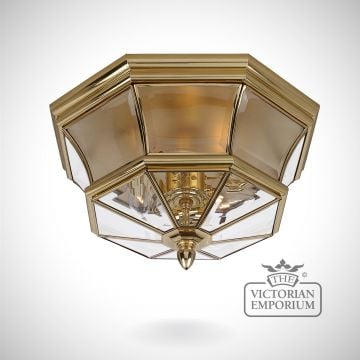 Newbury Flush Mount Light in Polished Brass