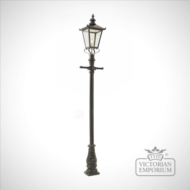 Lamp post 3050mm high and large square steel lantern