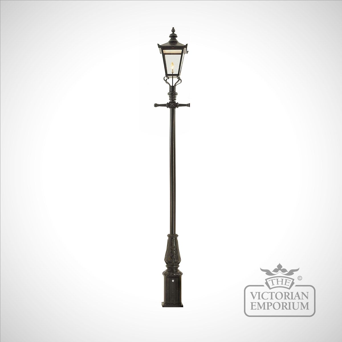 Lamp Post (style 5) And Large Square Stainless Steel Lantern