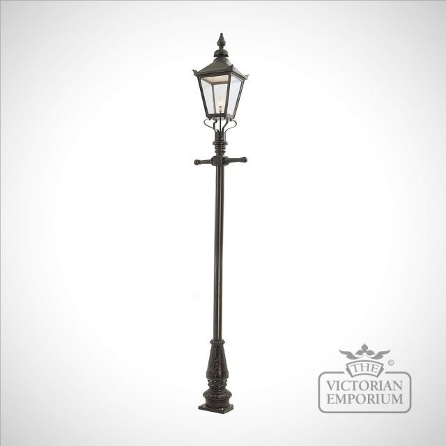 Lamp post 3375mm high and extra large square stainless steel lantern