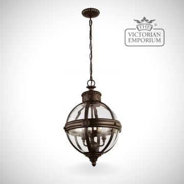 Adam 3 light pendant in British bronze