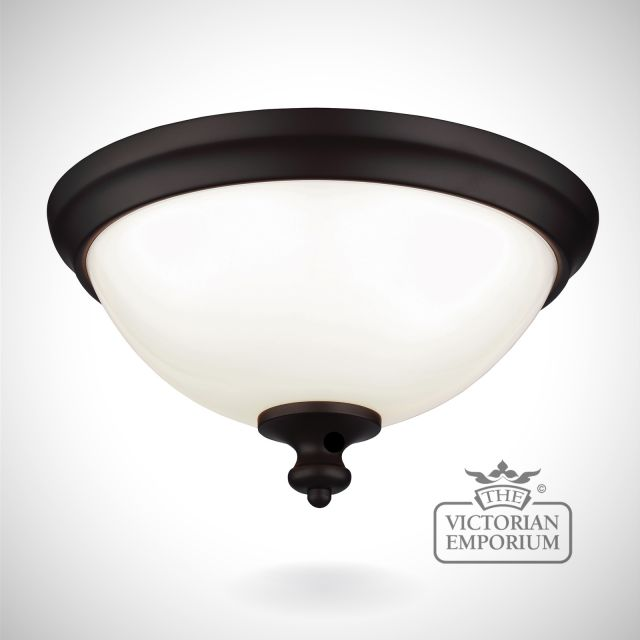 Parks small flush mount light in oil rubbed bronze