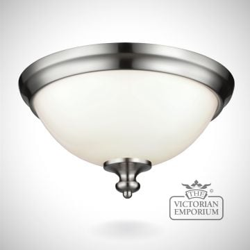 Parks small flush mount light in brushed steel