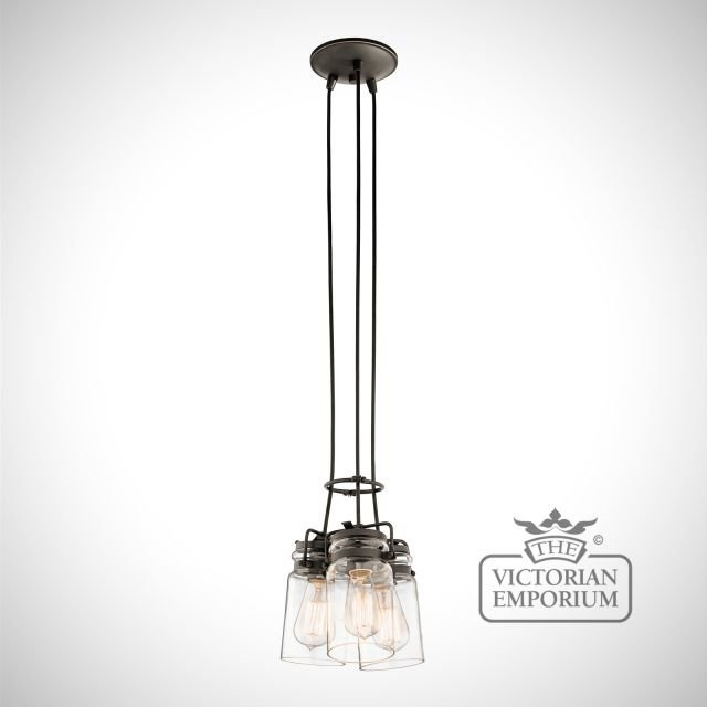 Brinkley 3 light pendant in old bronze