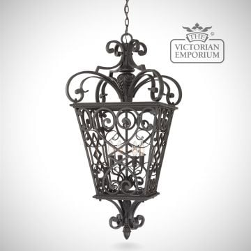 Quinn 4 light chain lantern in black