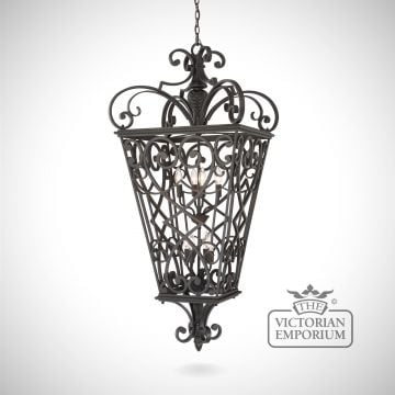 Quinn 8 light chain lantern in black