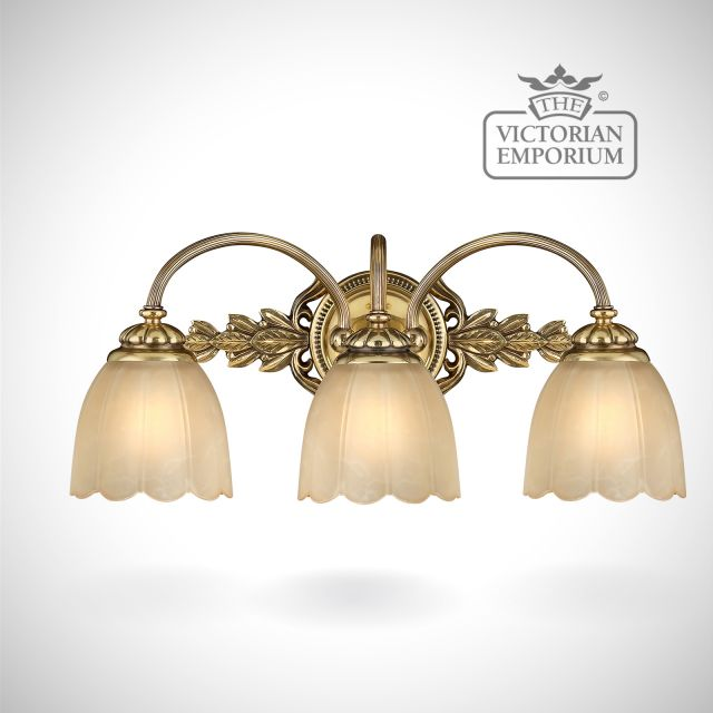 Isabella Bathroom triple wall light in brass