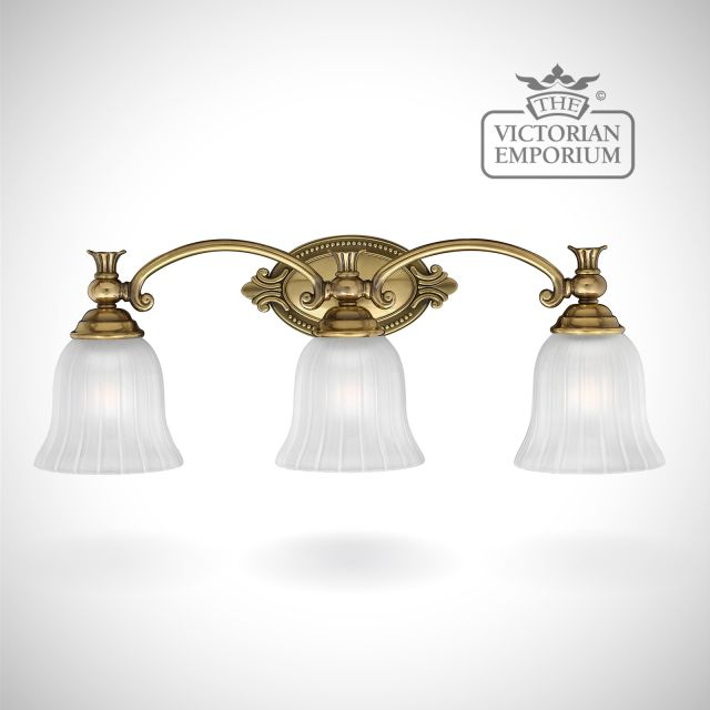 Francoise Bathroom triple wall light in brass